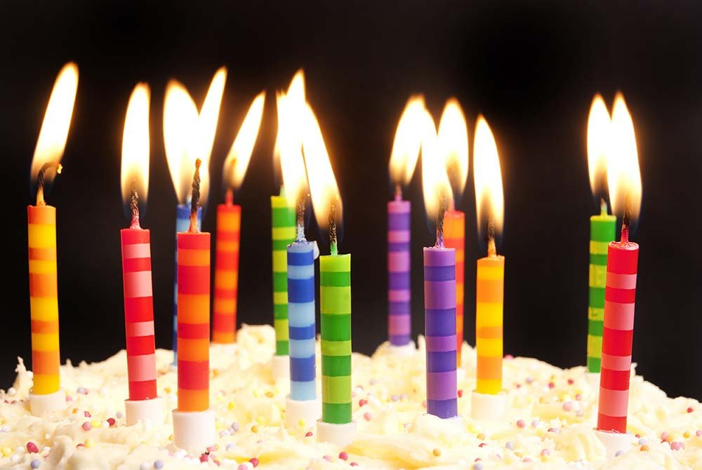 lit birthday candles in a row