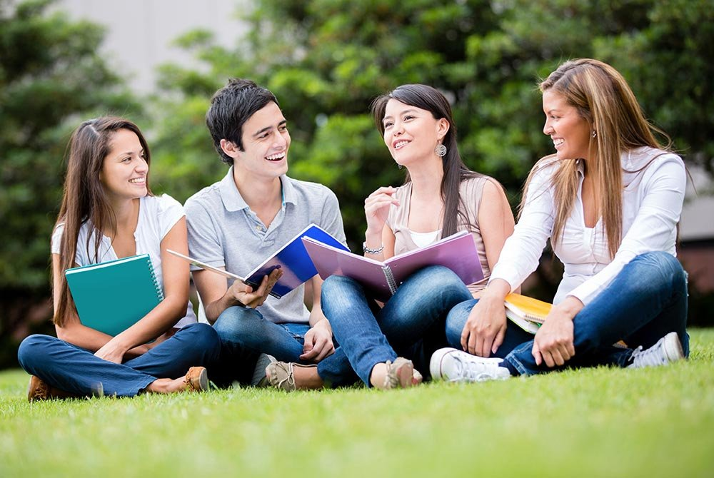 group of college students on the lawn