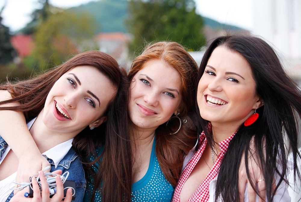 three women having fun