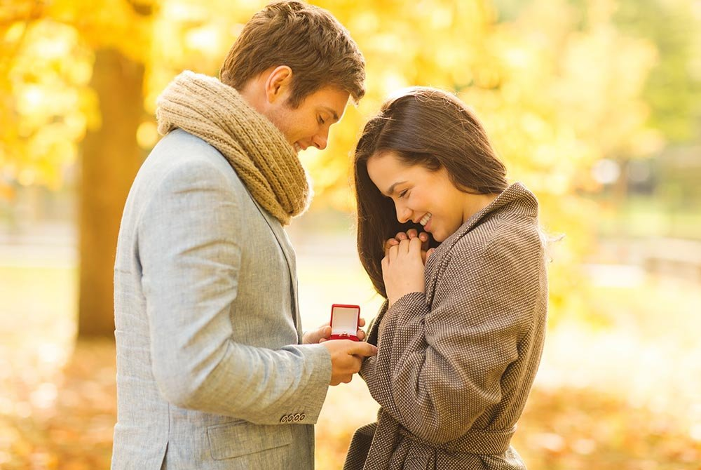 man proposing to woman outdoors