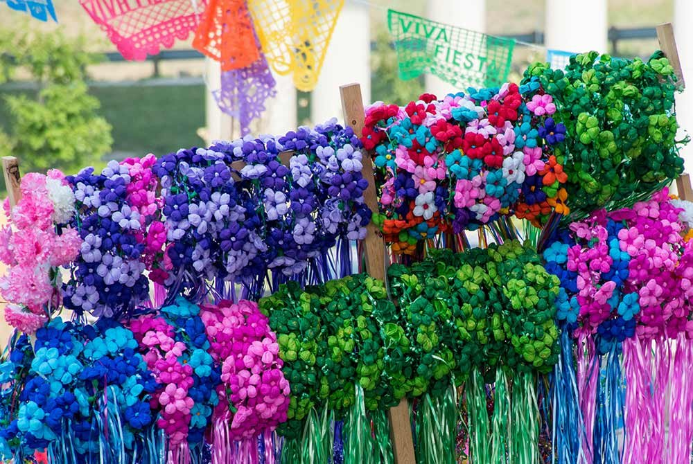 vendor stand of floral headbands