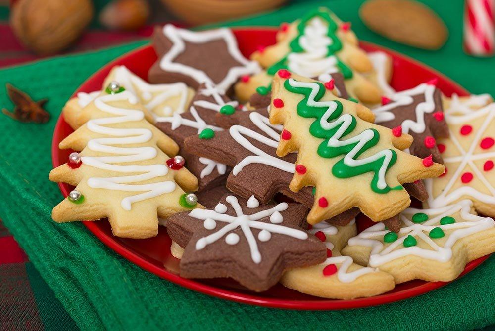 Snowflake and Christmas tree cookies