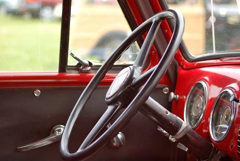 Steering wheel in vintage car