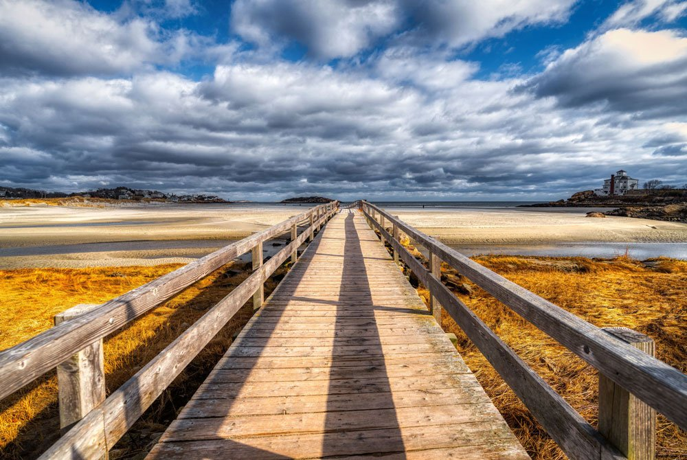 Wooden Boardwalk Bridge