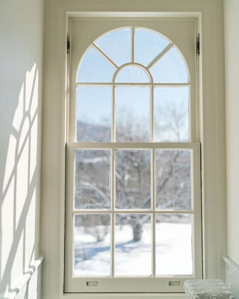 Curved window in wall