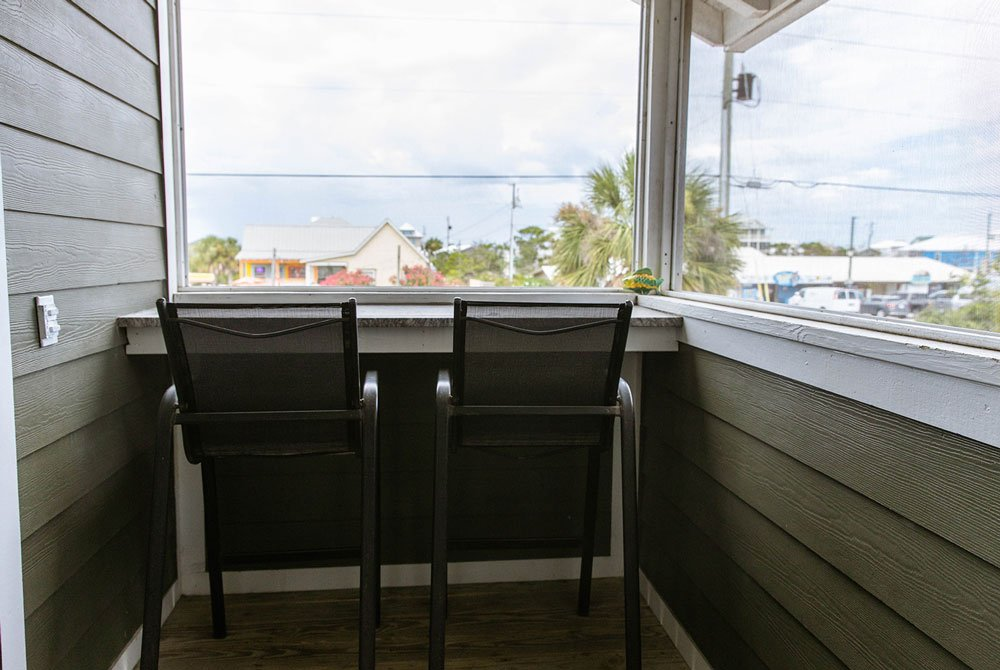 Enclosed porch and chairs