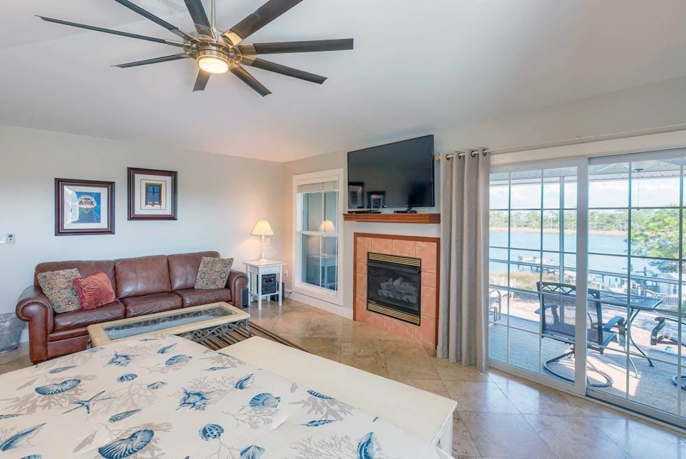 Fireplace next to couch in living room