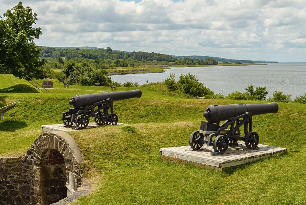 Cannons on hill above bunker