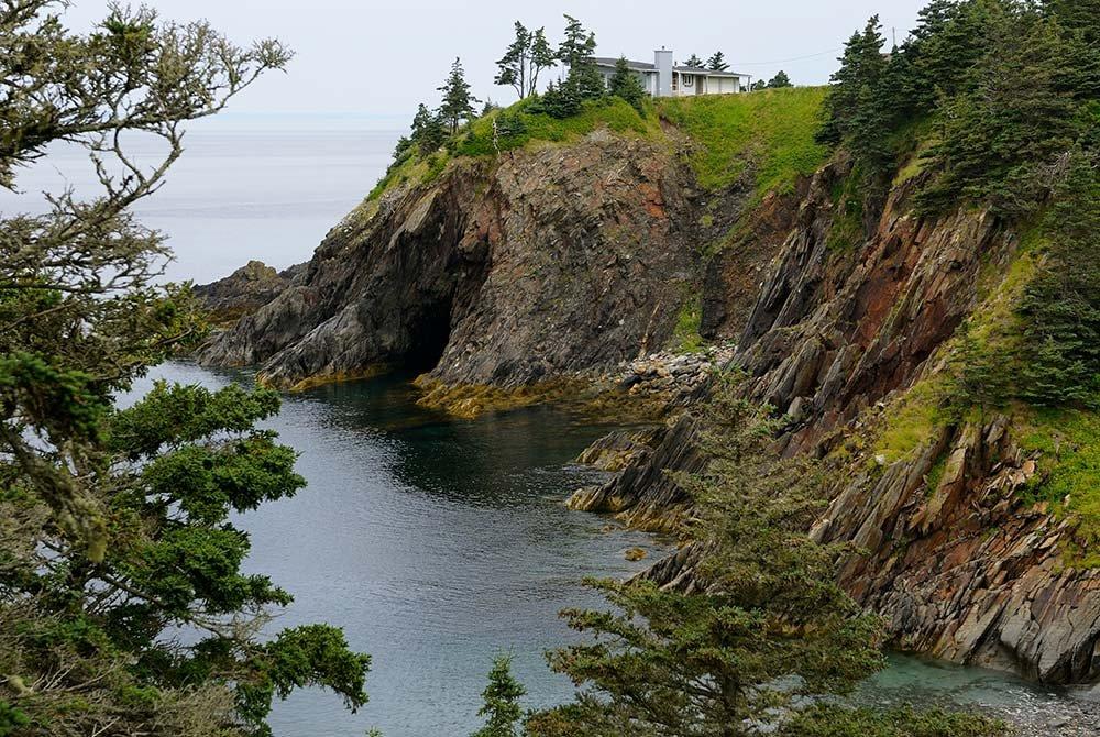 Rocky cliffside next to coast