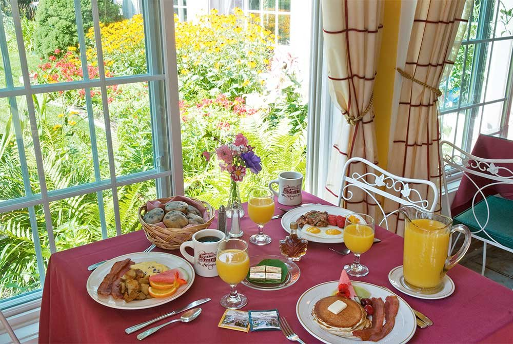 Dining table with breakfast foods