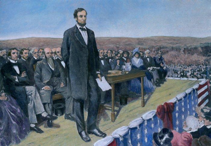 President Lincoln giving the Gettysburg Address