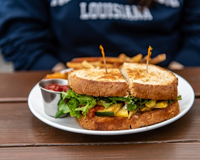 Sandwich with toothpicks down the center
