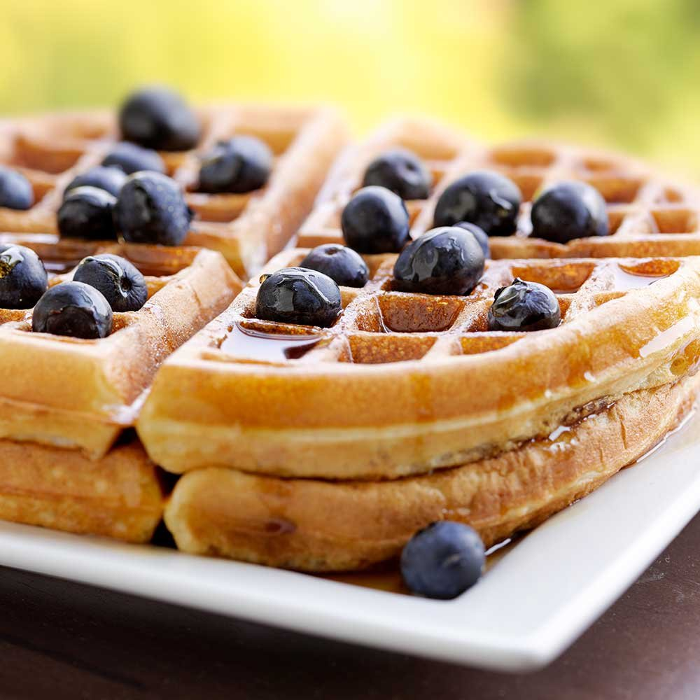 blueberry waffles on a plate