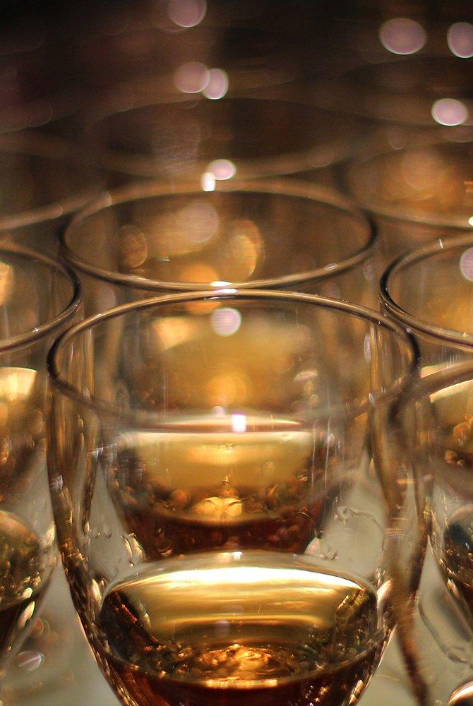 Glasses of bourbon whiskey