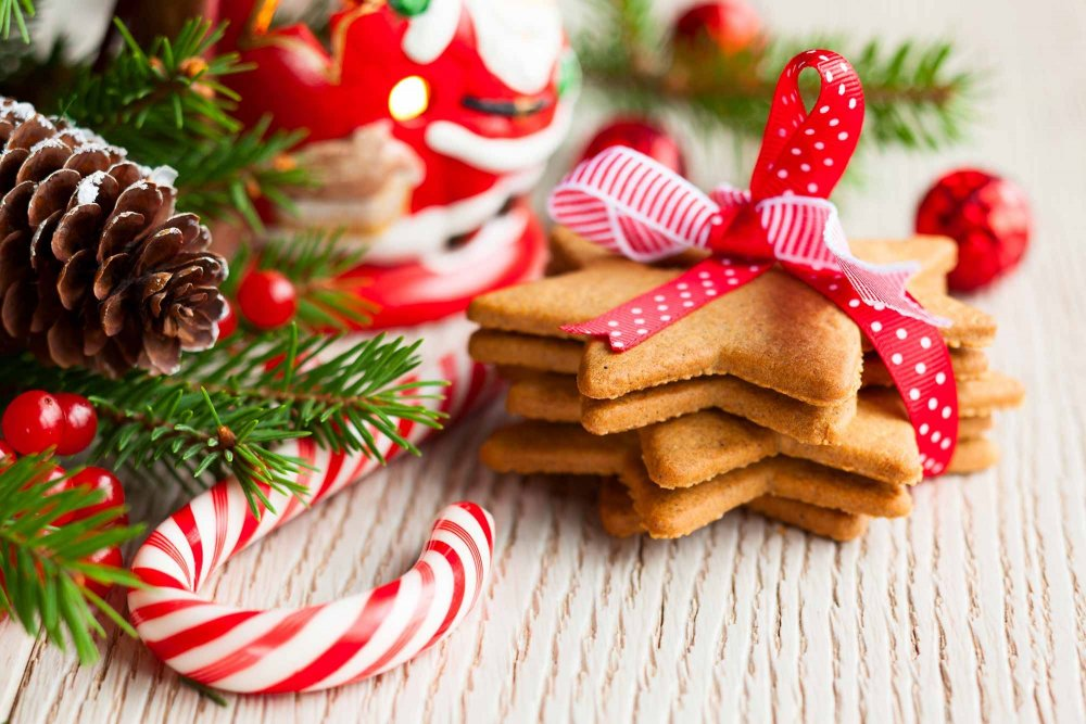 holiday cookies and candy cane