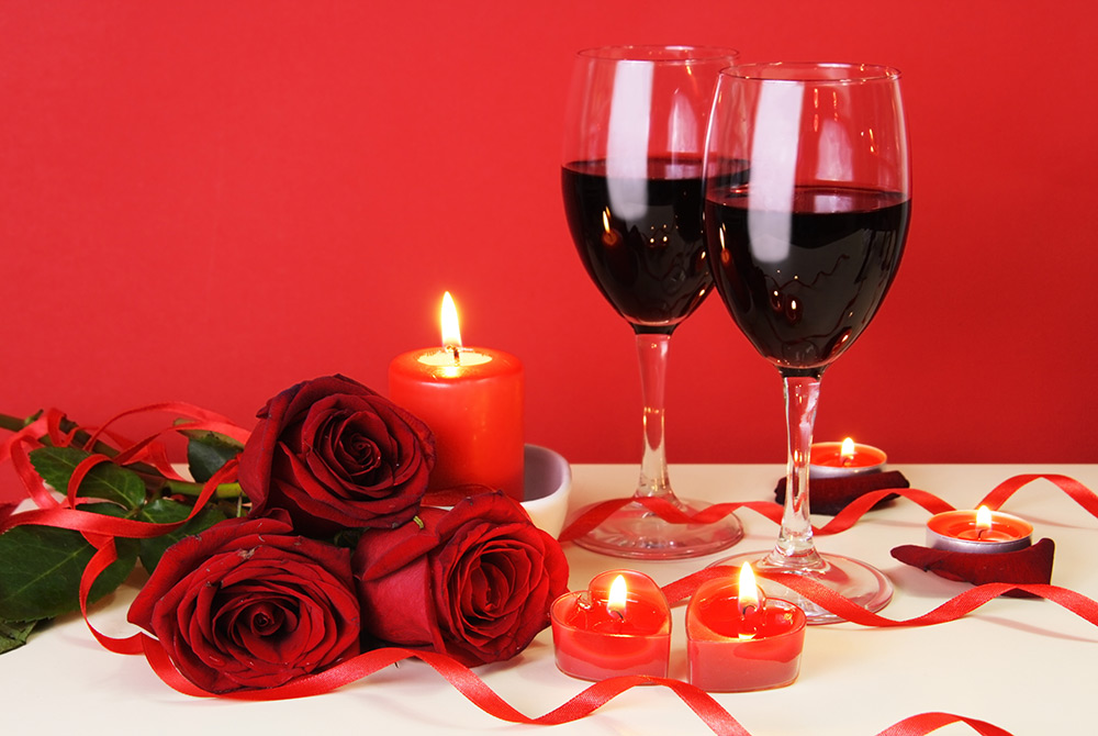 roses and wine and candles