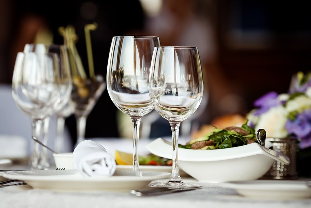 fine dining with wine glasses