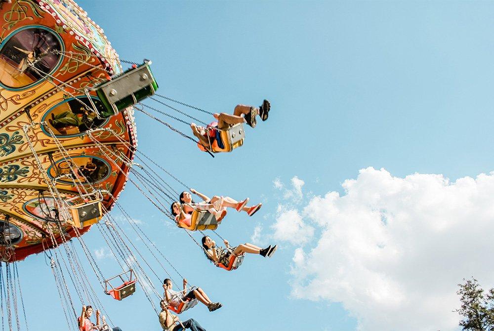 swing ride at amusement park