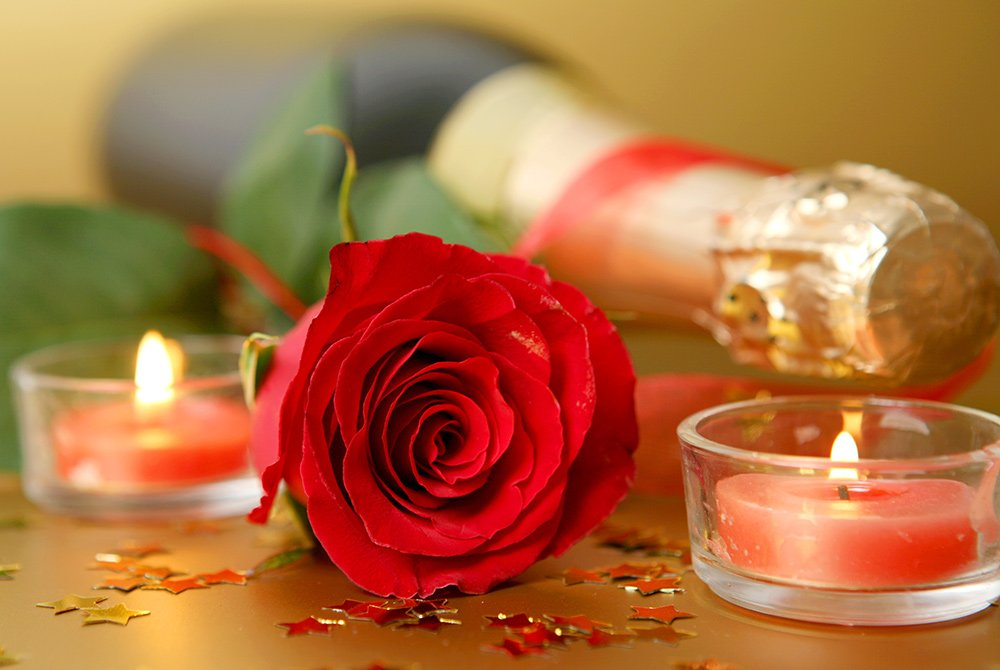 rose and candles with champange bottle