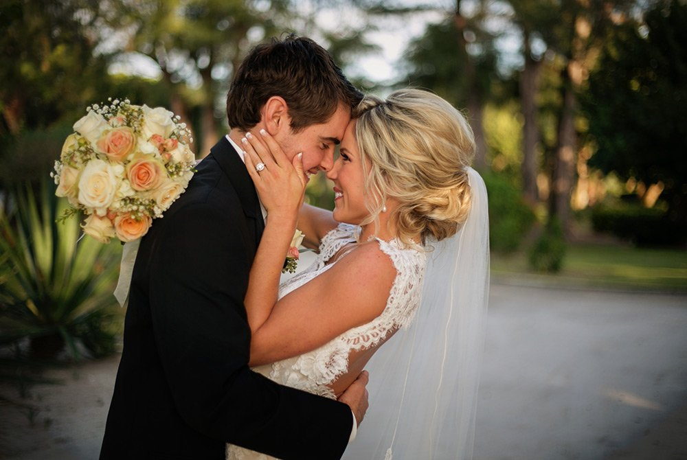 bride and groom in summer