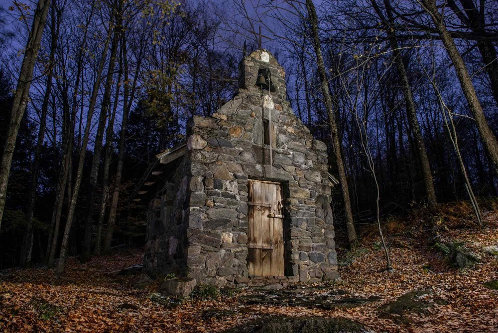 Old cobble stone church in the woods