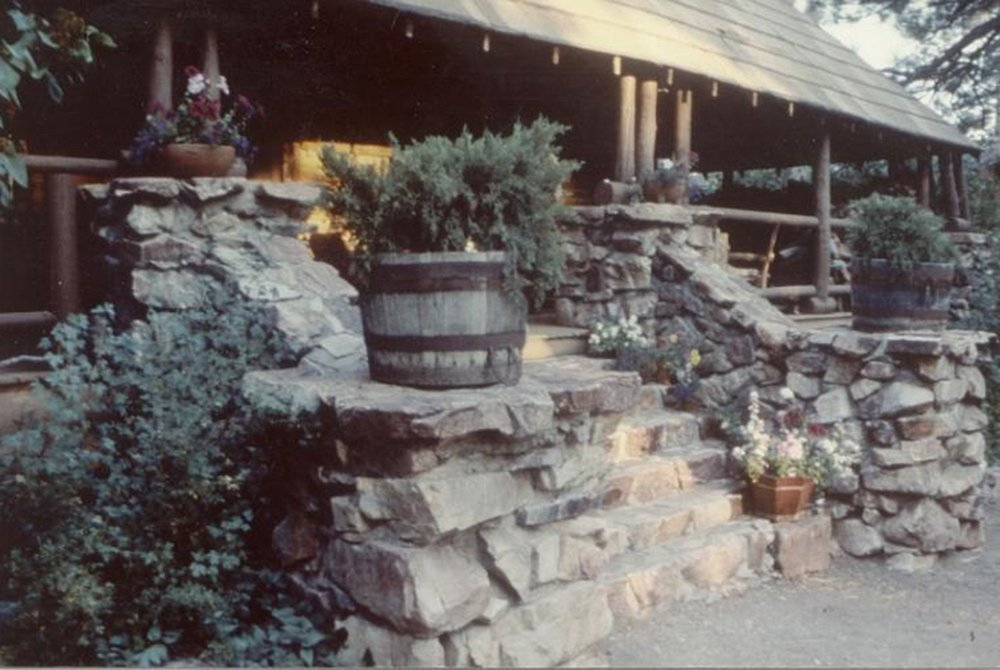 Stone steps up to gold mountain manor inn