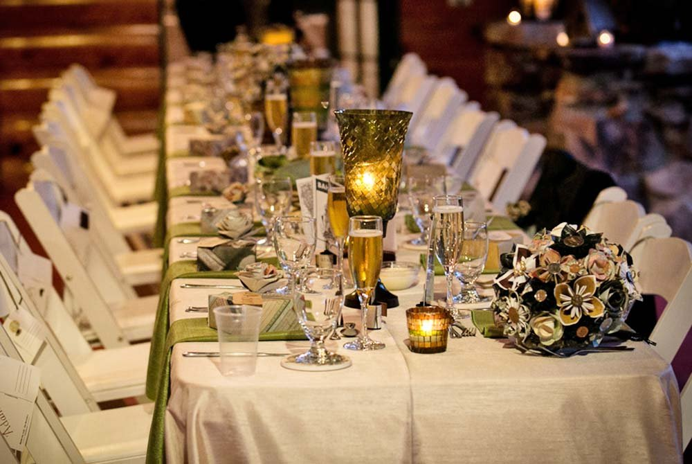 Place settings at fancy dining table