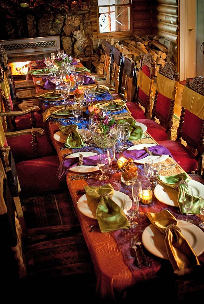 Decorated dining table prepared for wedding diner