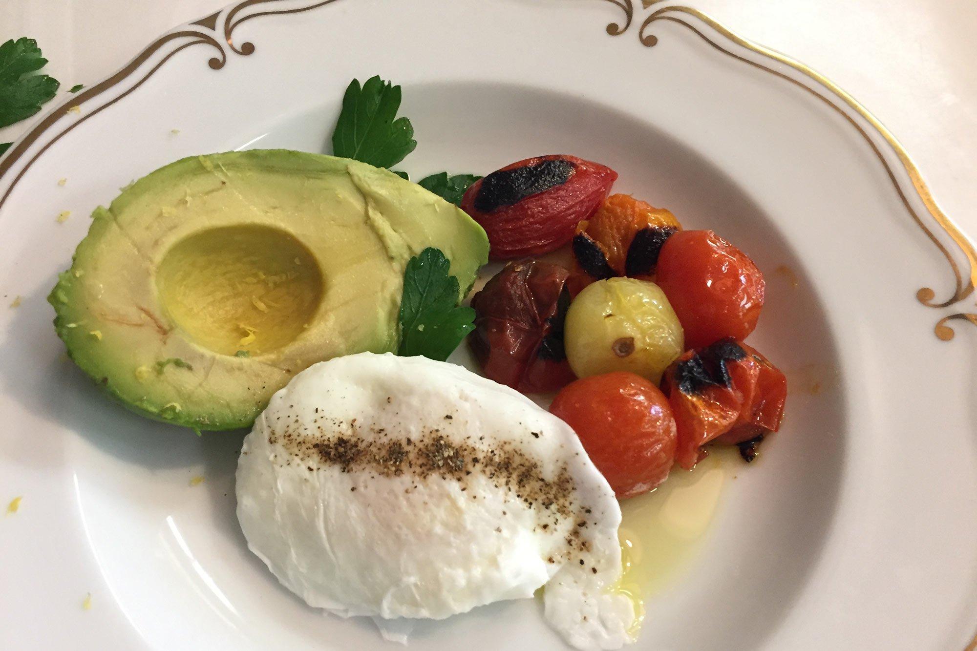 avocado, egg, roasted vegies