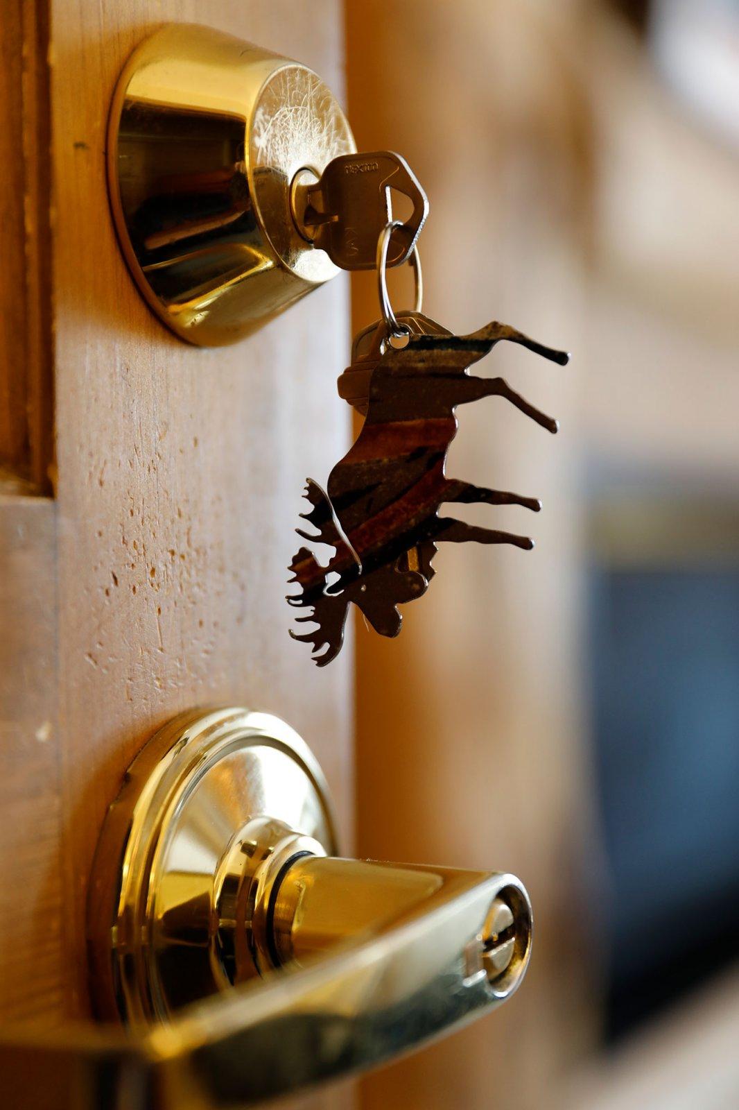 Closeup of moose keychaine and door.