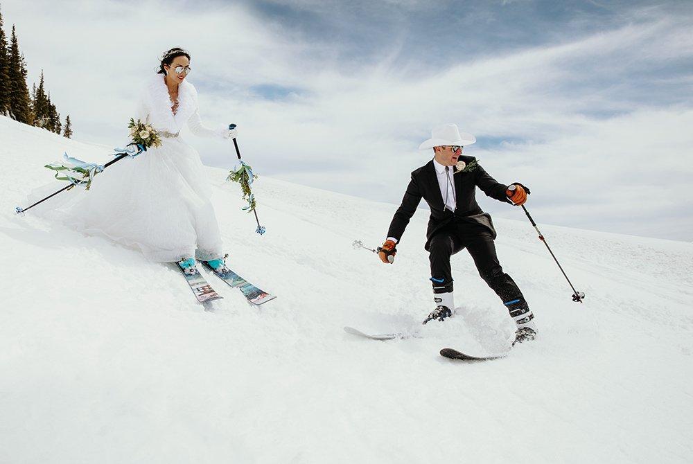 Wedding couple posing together