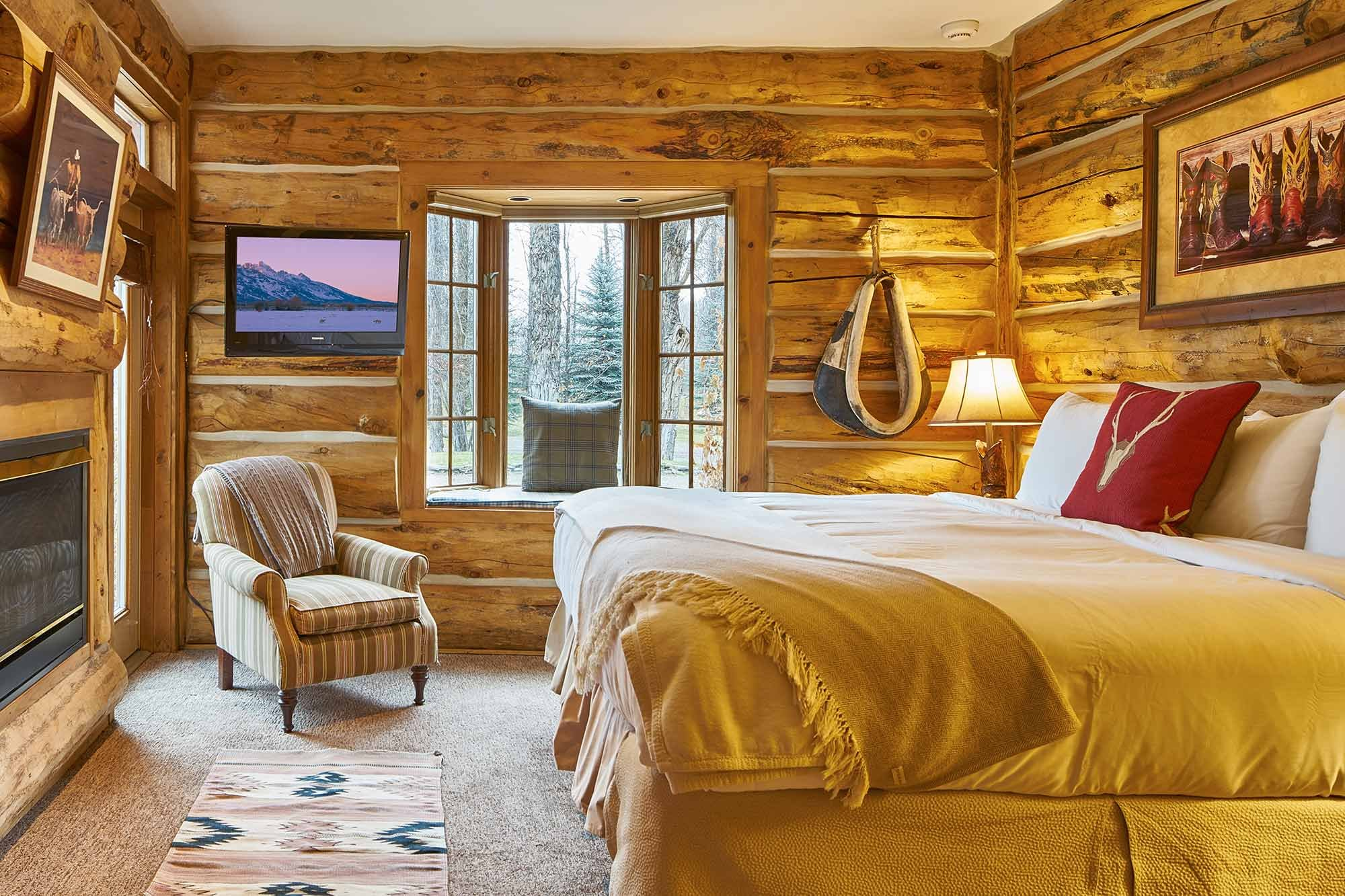View of rustic room and bed