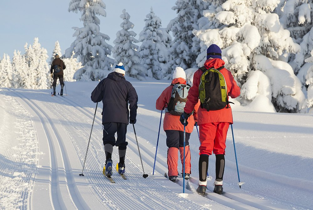 Four people cross-country skiing on snow track