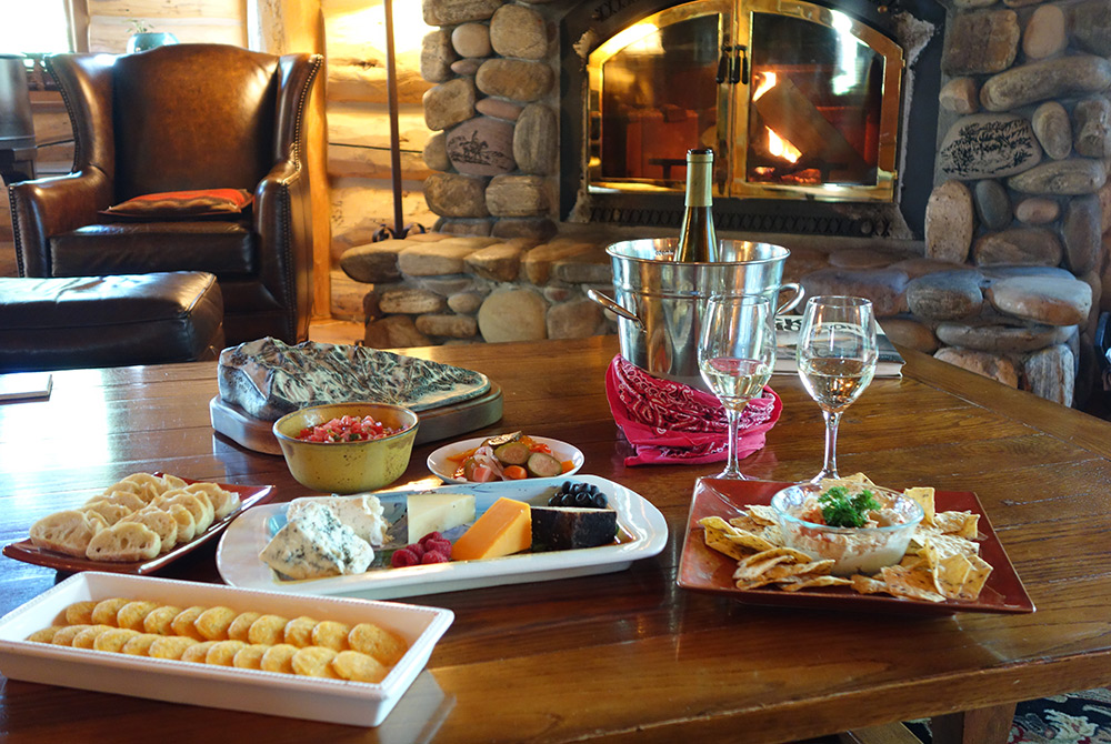 Hors d'Oeuvres spread in front of a fire