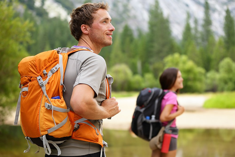 Man and women with hiking gear