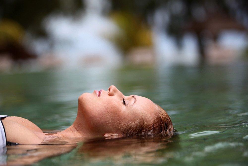 Woman relaxing in the water