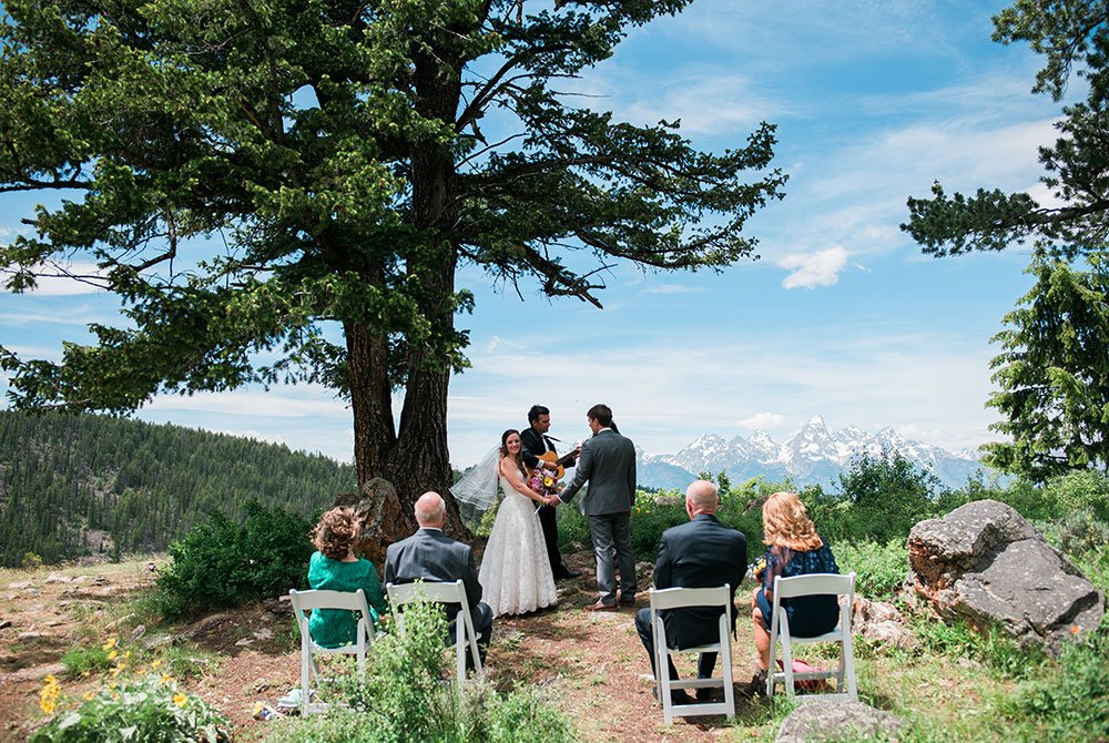 View of wedding on mountain top