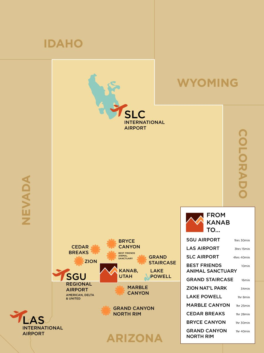 map of Utah highlighting Airports and parks