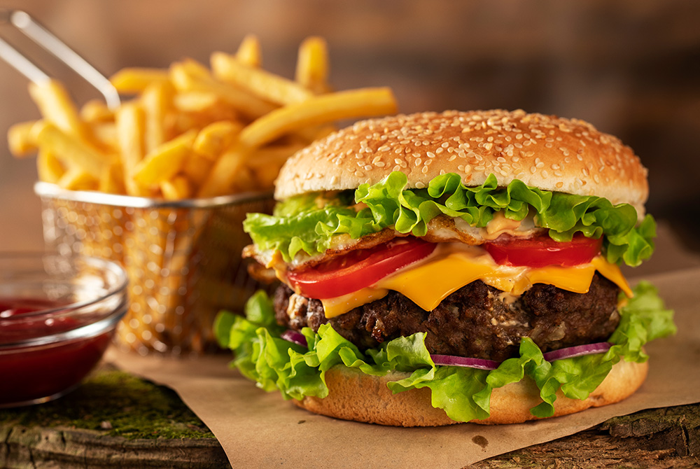 Thick burger and fries