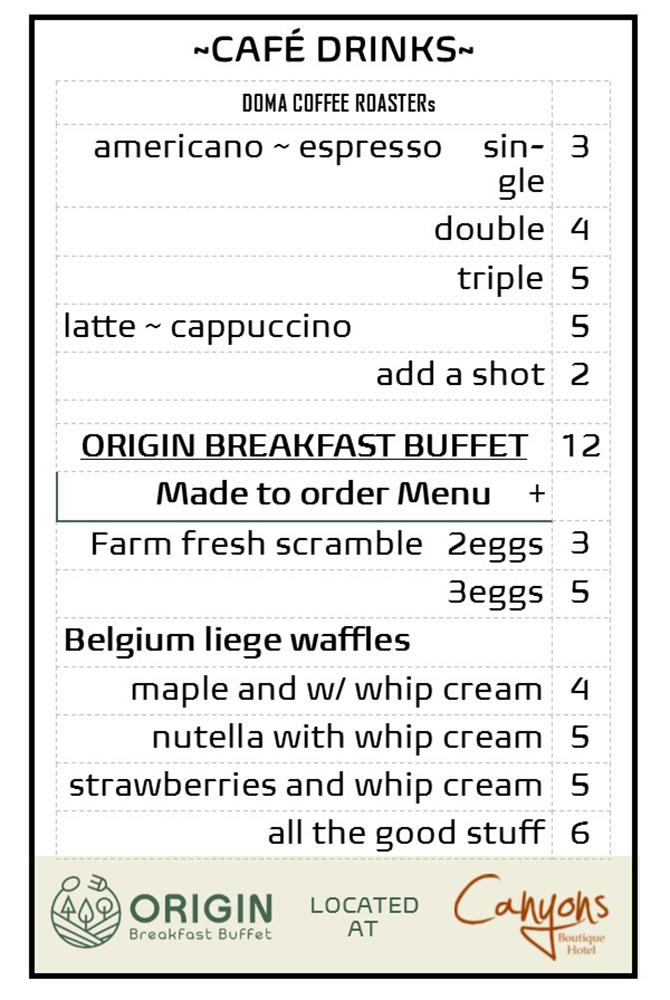 Origin's breakfast buffet cafe drinks list