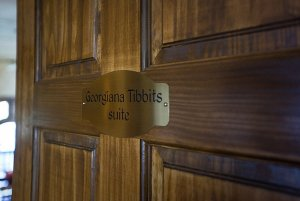 Georgiana Tibbits Suite nameplate on door