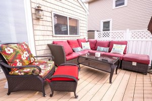 Outdoor patio furniture on wooden deck