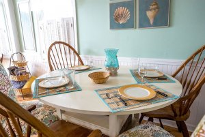 Kitchen table with place settings