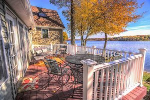 Chairs and tables on wooden deck