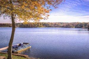 Large lake with barge