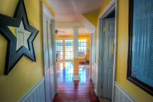 Hallway leading to living room