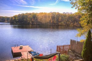 Lakeview and barge from wooden deck