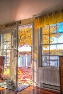 Open door leading to outside deck