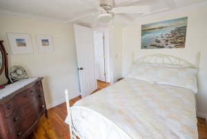 Queen bed under ceiling fan in bedroom