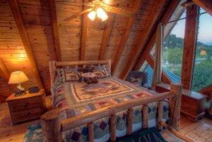 Log bed next to triangular window